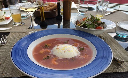 The peach gazpacho is as unique as the Palafitte in Neuchâtel, Switzerland!