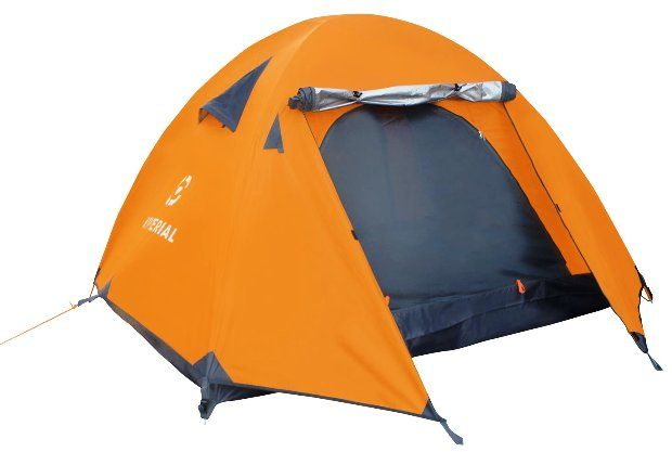 Winterial 3 person tent with flap rolled up