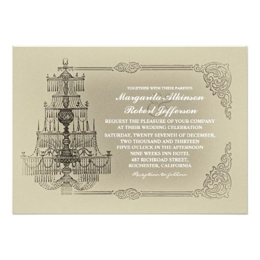 Vintage Old Chandelier Wedding Invitations