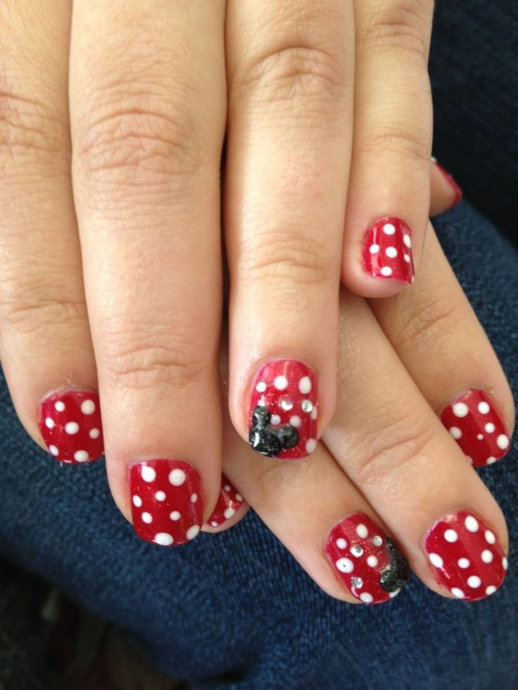 Natalie B Nails - Dublin, CA, United States. Disney-themed Gelish nails with 3D acrylic Mickey Mouse ears.