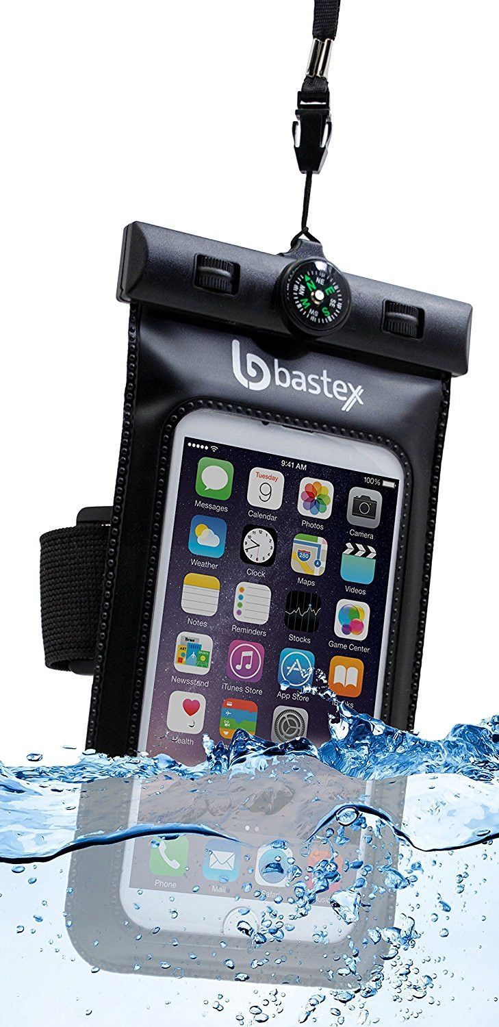 Universal Bastex Dry Bag Waterproof Phone Case Pouch Black Clear Transparent Window Sealed Heavy Duty Silicone Protection with Built-In Compass for Samsung iPhone HTC LG iPhone 7 multi-media devices