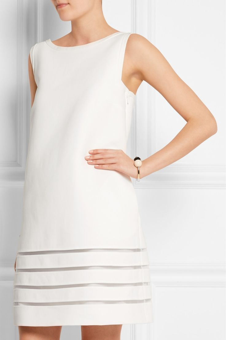 Fendi   Mini-robe en crêpe de coton à empiècements en résille   NET-A-PORTER.COM