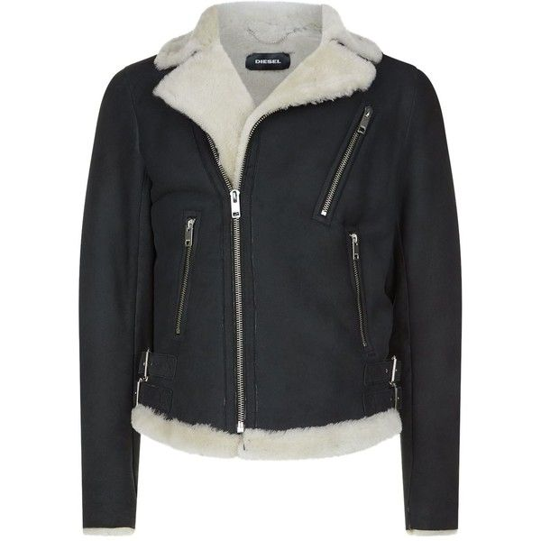Diesel Shearling Jacket (928.210 CLP) ❤ liked on Polyvore featuring men's fashion, men's clothing, men's outerwear, men's jackets, diesel mens jacket, mens longline bomber jacket, mens shearling jacket and mens collared jacket