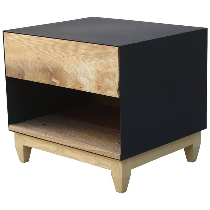 oxide handmade wood and metal nightstand