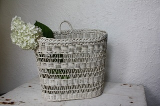 Vintage White Hanging Farmhouse Basket