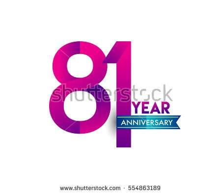 eighty one years anniversary celebration logotype colorfull design with blue ribbon, 81st birthday logo on white background