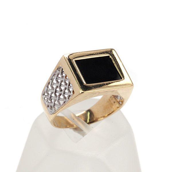 Δαχτυλίδι ανδρικό δίχρωμο  χρυσό Κ14   7706