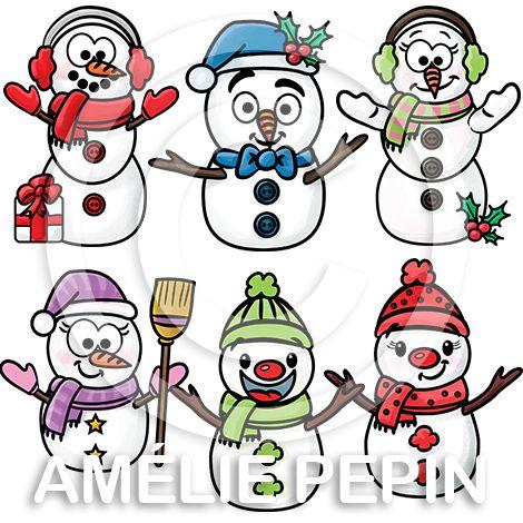 Snowmen Clip Art / Pictogrammes de bonshommes de neige: http://www.ameliepepin.com/boutique/list/43