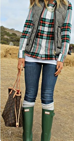 The herringbone vest! My favorite! Love the plaid, jeans, boots. LOVE this look!