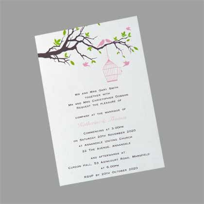Bird Cage Upright  Wedding Invitation. This invitation shows a birdcage hanging from a branch with birds flying free. Available in many different colour combinations. www.kardella.com