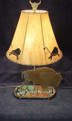 Southwestern Table Lamp Buffalo Lamp Buffalo Hide Shade Model Metal 60W C4-4
