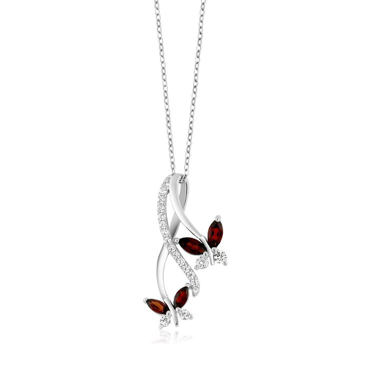 1.21 Ct Marquise Red Garnet Butterfly Infinity 925 Sterling Silver Pendant
