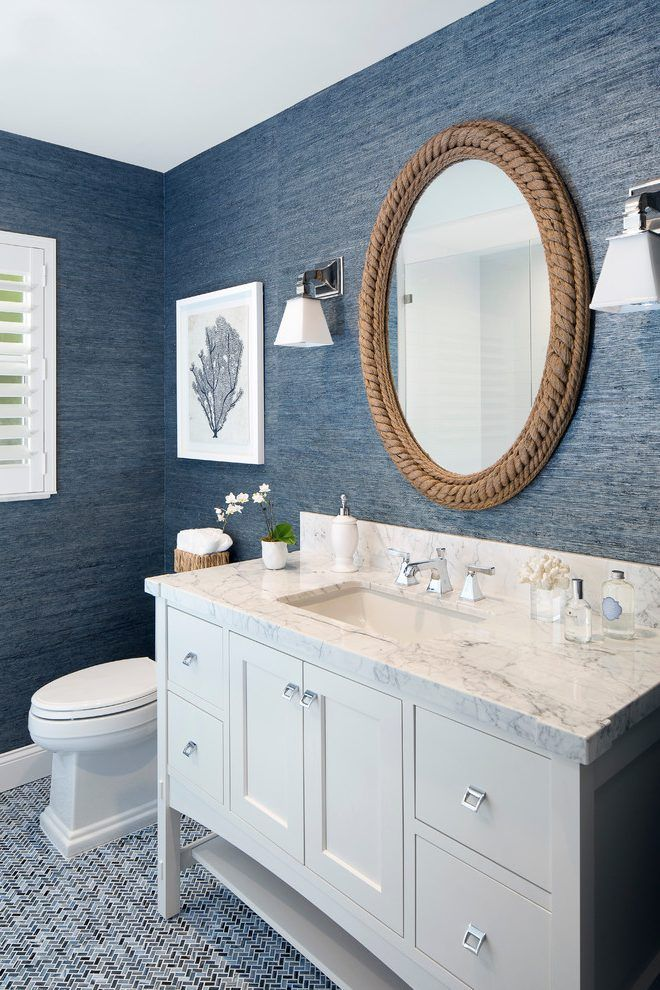 miami navy blue wallpaper for walls with incandescent wall sconces powder room beach style and single vanity white indoor shutters