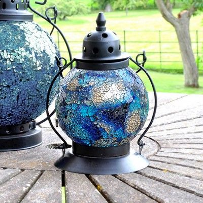 Decorative Hanging Garden Candle Lanterns In A Mosaic Moroccan Turkish  Style In Azul Blue. These