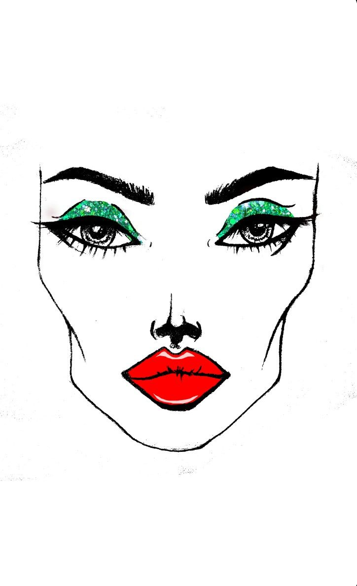 #Glitter #eyes #redlip #makeup #sketches