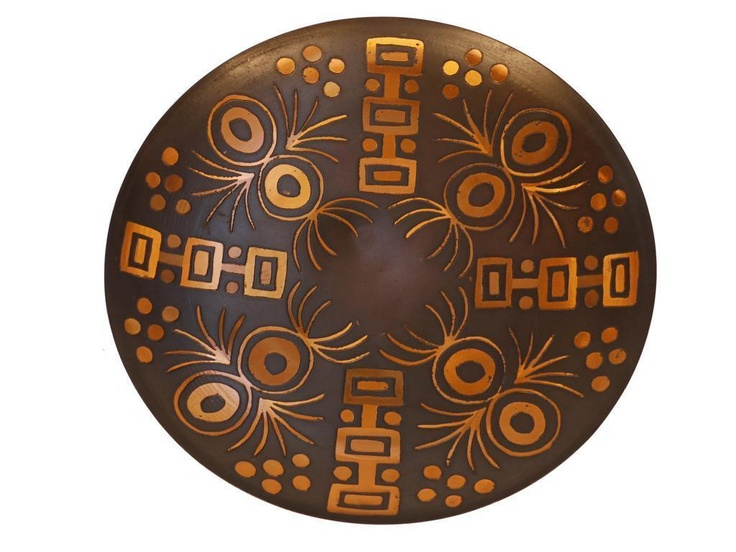 Vintage Made in Chile Mid-Century Modern Copper Charger Plate