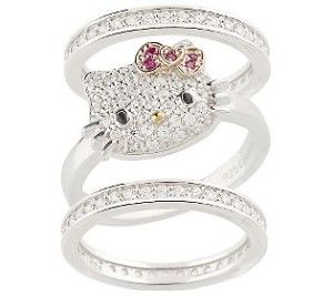 ao hello kitty diamonique sterling luxe kitty stack ring - Hello Kitty Wedding Ring