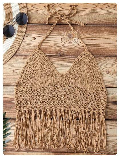 Crochet Fringe Bikini Top (Dark khaki)
