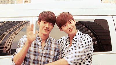 "Lee Jong Suk ""hugs"" Kim Woo Bin. Kim Woo Bin""people are watching """