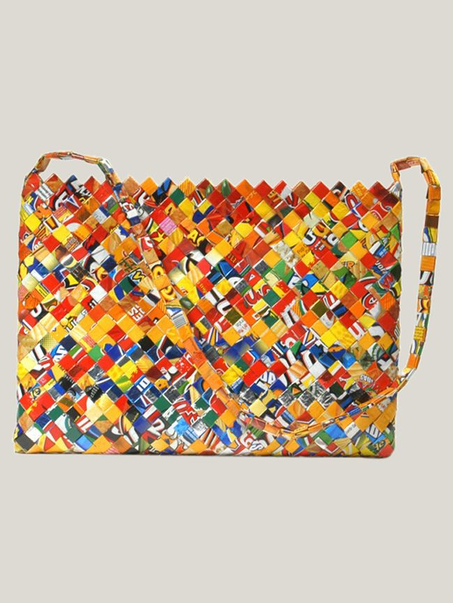 Recycled shoulder bag can double as a laptop case made with love by Manos de Madres (mother's hands)