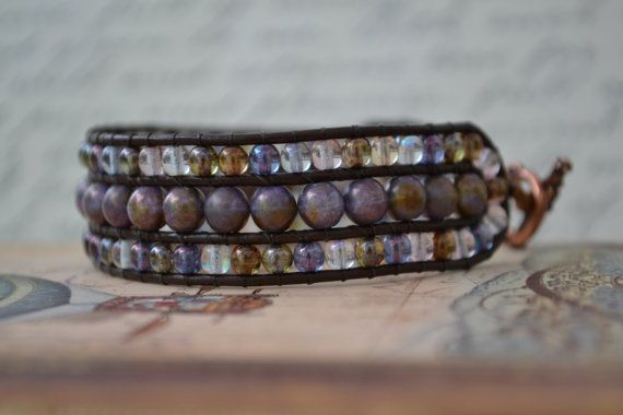 Beaded Wrap Bracelet Beaded Leather Wrap by corporateschmad, $40.00