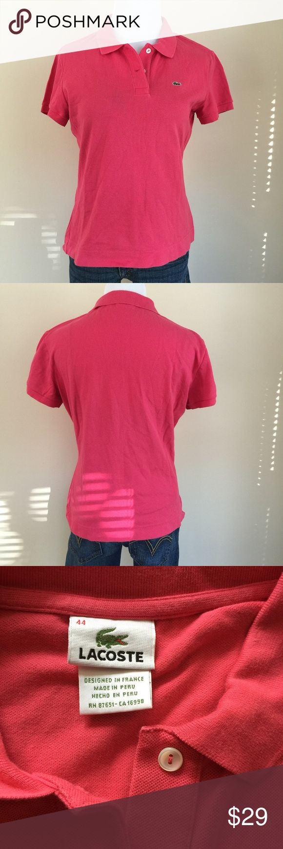 "Lacoste bubblegum pink polo sz XL/44 Lacoste bubblegum pink polo shirt, size 44.  Per Lacoste's ladies polo shirt size chart, 44 is an XL.  Condition:  very good pre-loved.  Material:  94% cotton/6% elastane.  Measurements (approximate, taken laying flat):  length 21"", pit-to-pit 20"", flat waist 17"", flat hip/hem 19"", sleeve 6"". Lacoste Tops Button Down Shirts"