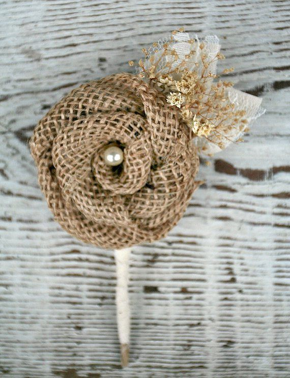 Burlap rose boutonniere | http://emmalinebride.com/rustic/ways-use-burlap-weddings/