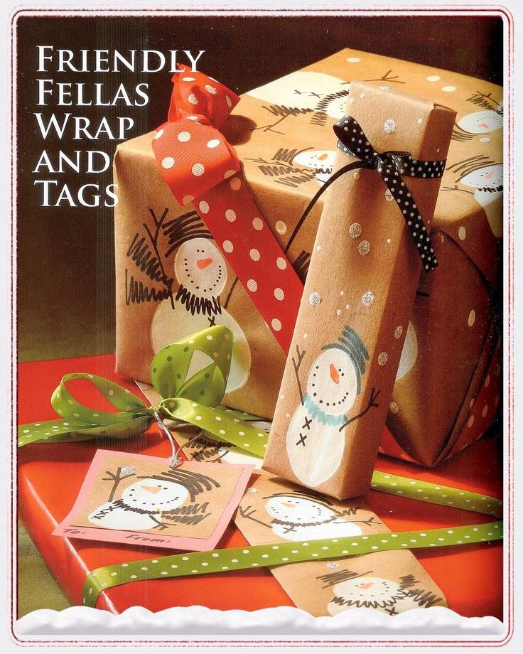 Snowman Gift Wrap & Tags - tutorial~!