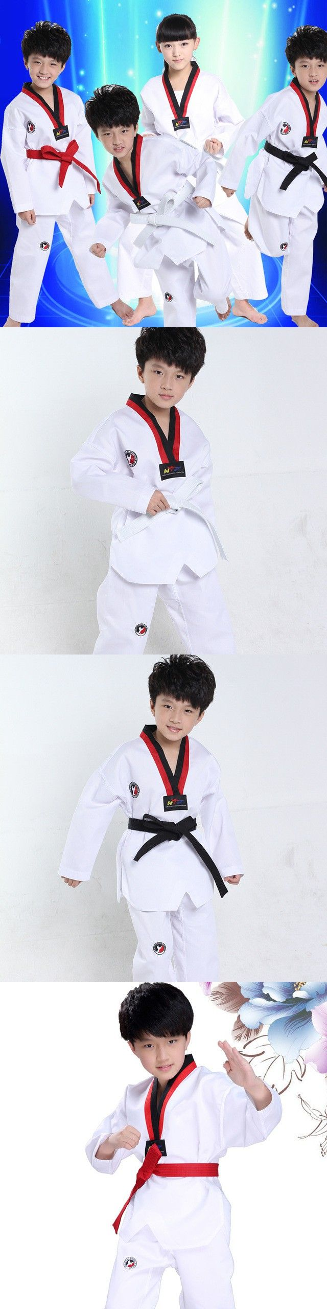 White Long Sleeves Kids Judo Kimono Clothes Children Karate Competition Performance Costumes Boys Girls Taekwondo Suits $21.25