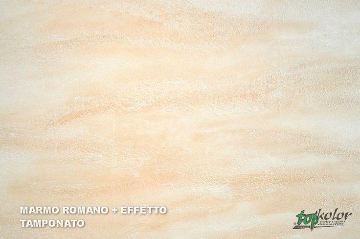 Tynk dekoracyjny MARMO ROMANO przebarwiony za pomocą farby EFFETTO TAMPONATO.