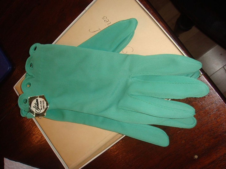 Brand New Old Stock 100% Nylon Stetson Emerald Green Gloves With Tag! --- For sale on Ruby Lane - Vintage Fashion Gloves