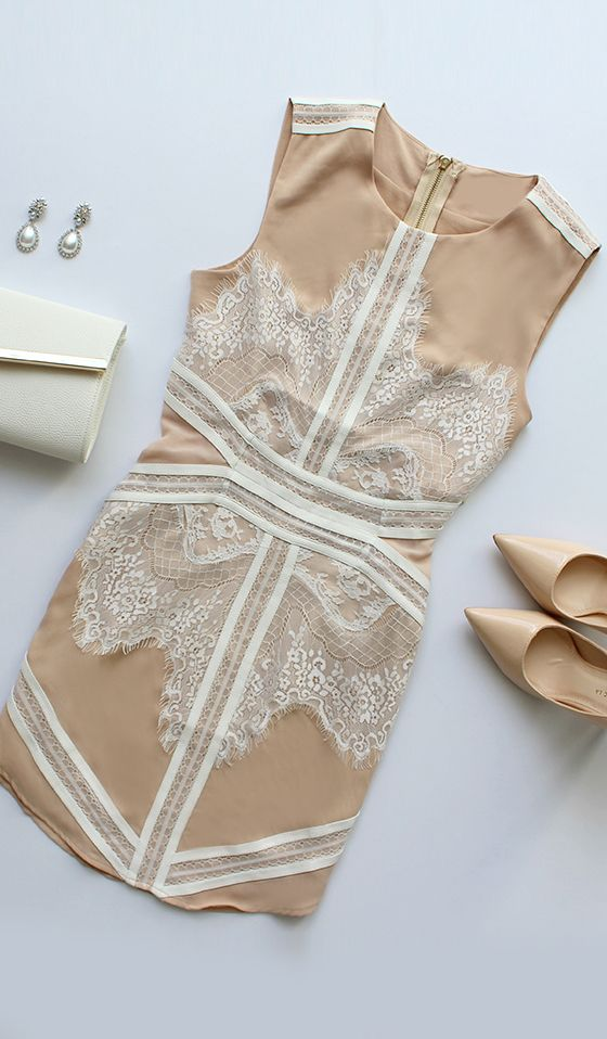 Most Refined Manner Ivory and Beige Lace Dress-- perfect for a wedding