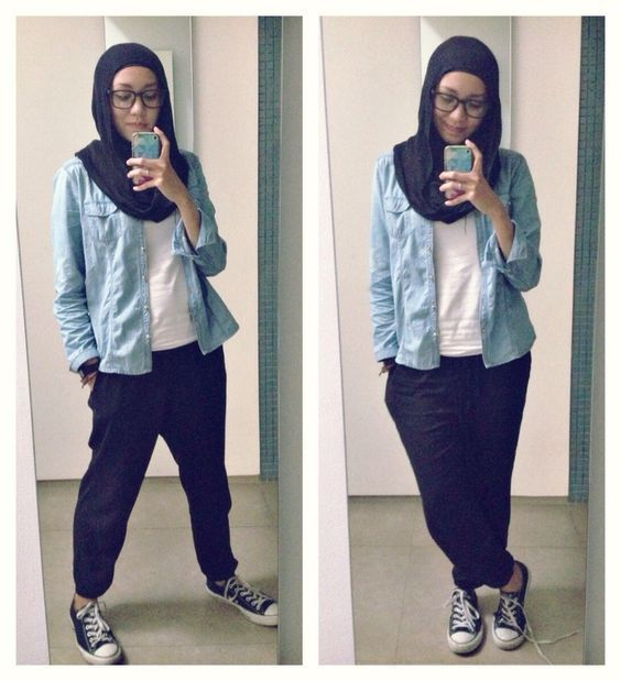 hijab straight pants outfit - Google-søk