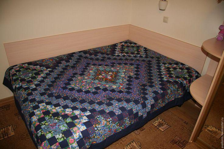 """Купить """"Синее"""" полуторное лоскутное покрывало-одеяло,  Печворк. - печворк, лоскутное покрывало, лоскутная техника"""