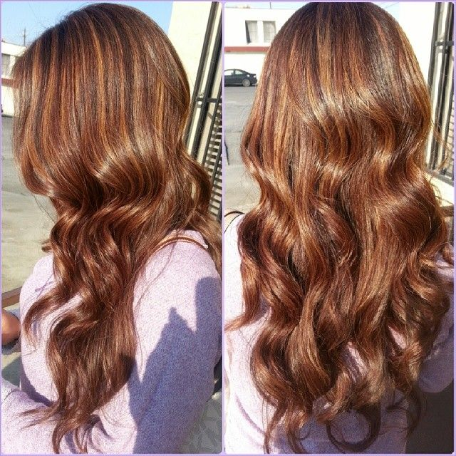 copper brown hair with highlights