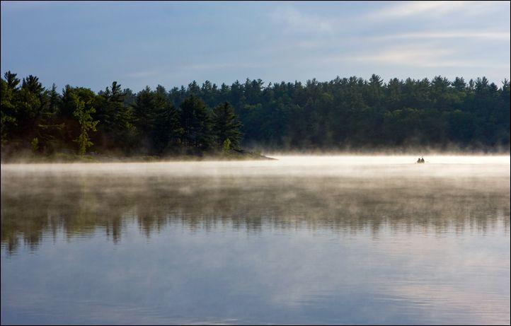 Misty sunrise over the McCrae Lake.