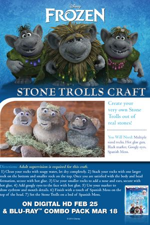 Frozen party activities - Stone Troll Craft from Disney.com website