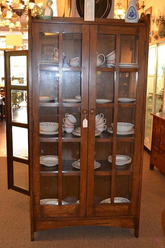 Mission oak china cabinet arts and crafts bookcase for Arts and crafts bookcase