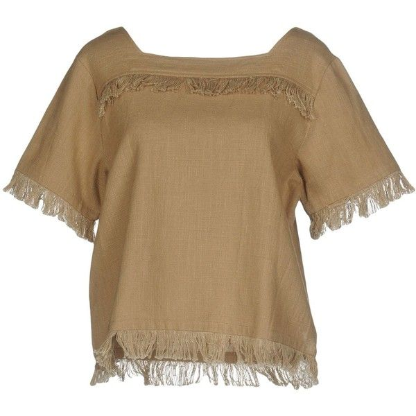 Intropia Blouse ($115) ❤ liked on Polyvore featuring tops, blouses, beige, short-sleeve blouse, fringe blouse, short sleeve tops, short sleeve blouse and short sleeve cotton tops