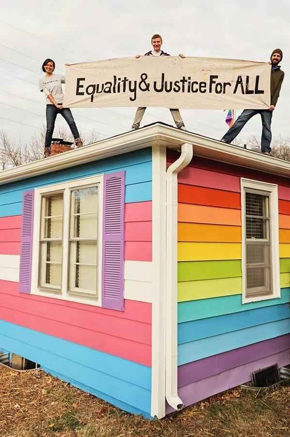 In honor of Transgender Day Of Remembrance , the house has been temporarily painted the colors of the trans pride flag.   House Across From Westboro Baptist Church Gets A Makeover For Trans Day Of Remembrance