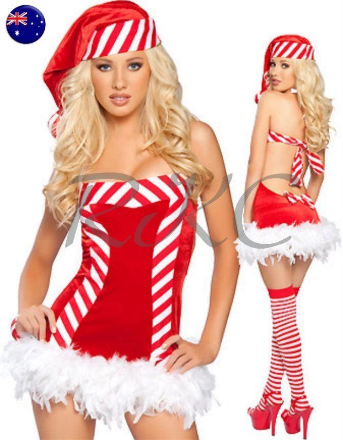 Sexy Women's Christmas Santa Riding Hood BurlesqueCorset Style Tie Up Mini Tutu