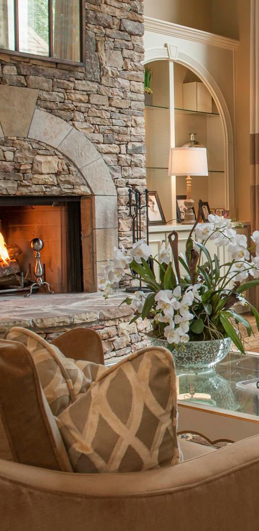 great fireplace  ༺༻ Create an Exceptional Decorating Level with Beautiful #Bathroom, Living Rooms, #Pools, #Kitchens and more.  IrvineHomeBlog.com
