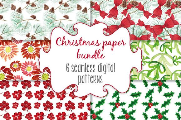 Christmas watercolor patterns by Lolly's Lane Shoppe on Creative Market