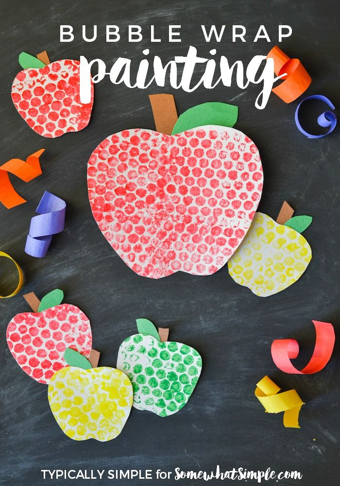 These bubble wrap painted apples are a fun back to school craft project for the kids!