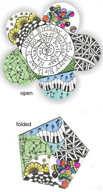 Doodled Art: folded doodled card