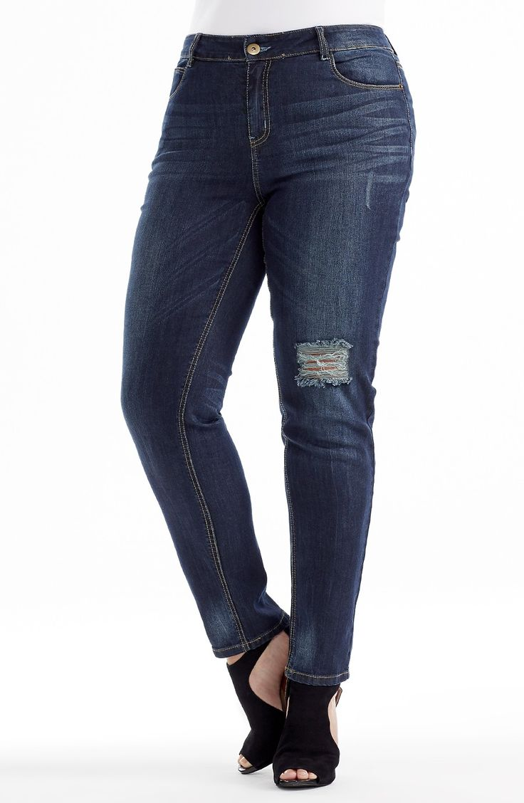 """Whisker Detail Jean - Dark Indigo Style No: J3092 Stretch light weight Denim straight leg Jean. This ankle length jean features a """"Rip"""" on one leg and subtle """"whisker"""" detail wash. #dreamdiva #dreamdivafiles #fashion #plussize"""