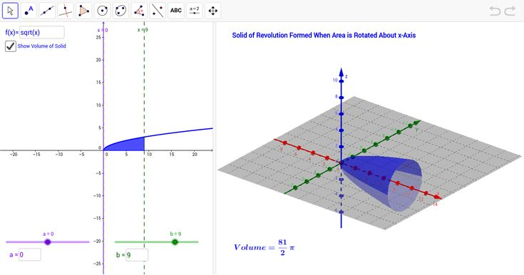 Applet allows for students to enter a function & limits of integration.  To the right is displayed an illustration of the volume of solid of revolution about the x-axis, as well as the volume of such a solid.