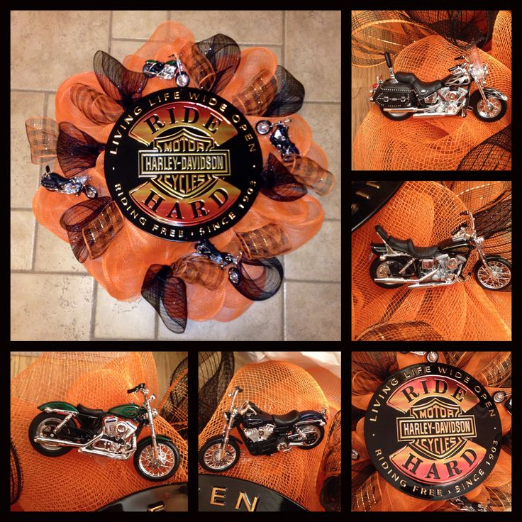 Harley Davidson deco mesh wreath. Another idea for my dad