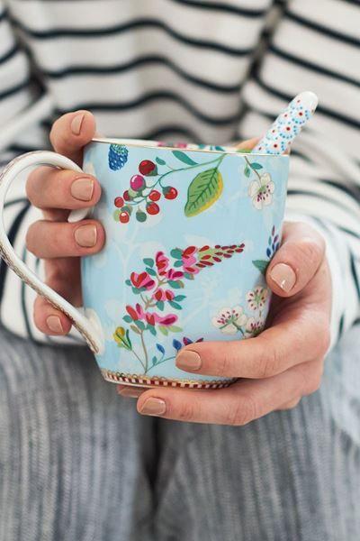 Toon details van Floral set/4 theelepels Blauw