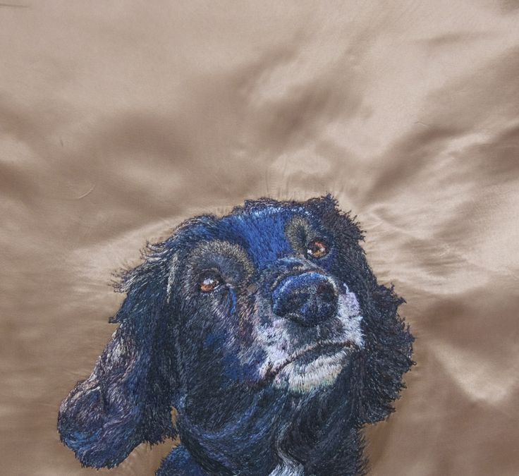 Bruce Freehand Machine Embroidery Portrait commission by Art Sea Craft Sea